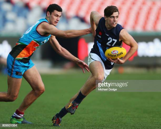 Toby Wooller of Vic Metro looks upfield during the U18 AFL Championships match between Vic Metro and the Allies at Simonds Stadium on July 5 2017 in...