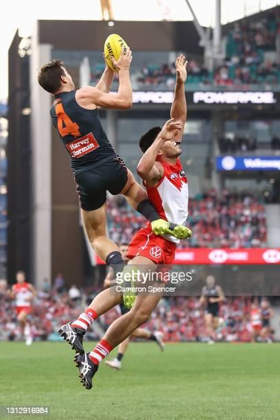 TobyGreene of the Giants marks during the round five AFL match between the Sydney Swans and the Greater Western Sydney Giants at Sydney Cricket...