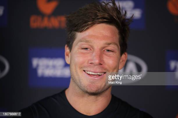 TobyGreene speaks to the media during a GWS Giants AFL training session at Tom Wills Oval on March 18, 2021 in Sydney, Australia.