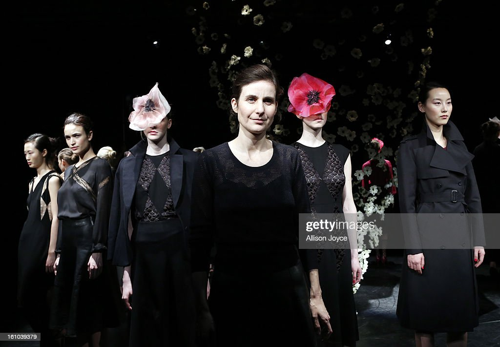 Tocca designer poses for the fall 2013 presentation during Mercedes-Benz Fashion Week at the Baryshnikov Arts Center on February 8, 2013 in New York City.