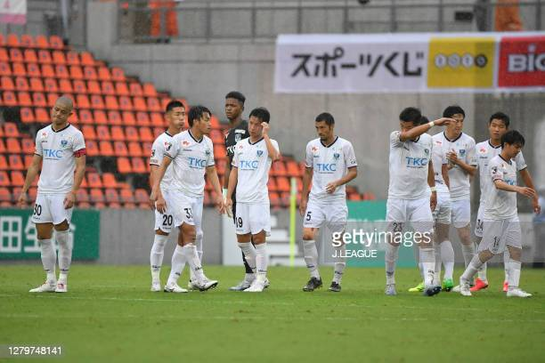 Tochigi SC players applaud fans after the J.League Meiji Yasuda J2 match between Omiya Ardija and Tochigi SC at NACK5 Stadium Omiya on October 10,...