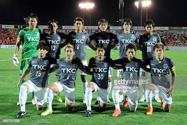 Tochigi SC players line up for the team photos prior to the JLeague second division match between Omiya Ardija and Tochigi SC at Nack 5 Stadium Omiya...