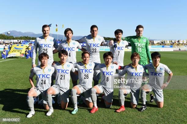 Tochigi SC players line up for the team photos prior to the JLeague J3 match between Azul Claro Numazu and Tochigi SC at Ashitaka Stadium on December...