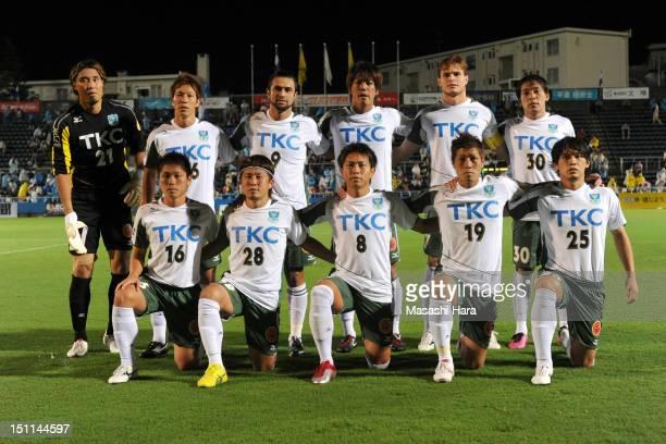 Tochigi SC players pose for a group photograph prior to the JLeague second division match between Yokohama FC and Tochigi SC at Nippatsu Mitsuzawa...