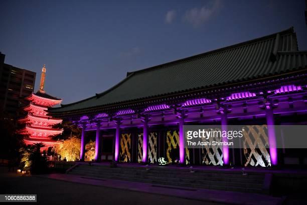 Tochoji Temple is illuminated on October 29 2018 in Fukuoka Japan