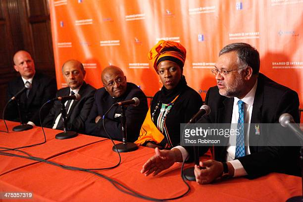 Tod Arbogast Anant Singh Desmond Tutu Mpho Andrea Tutu and Ebrahim Rasool appear on a panel at Shared Interest's 20th Anniversary Awards Gala at...