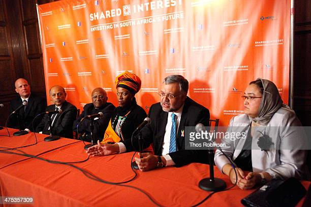 Tod Arbogast Anant Singh Desmond Tutu Mpho Andrea Tutu Ebrahim Rasool and Rosieda Shabodien appear on a panel at Shared Interest's 20th Anniversary...