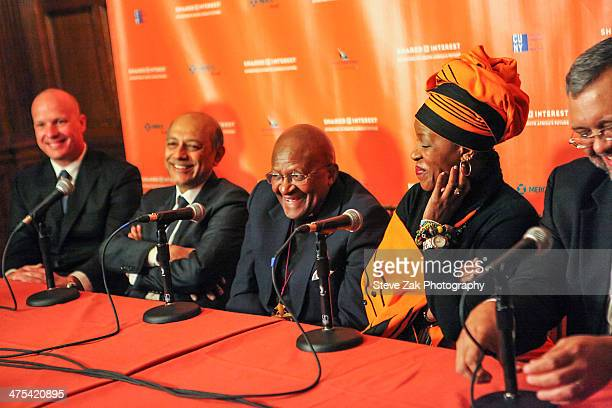 Tod Arbogast Anant Singh Desmond Tutu Mpho Andrea Tutu speak at panel at 2014 Shared Interest Awards gala>> on February 27 2014 in New York City
