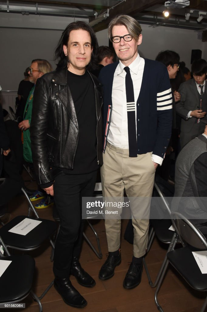 Tod Lyn (L) and Andrew Bolton attend Thom Browne In Conversation with Sarabande: The Lee Alexander McQueen Foundation on March 13, 2018 in London, England.