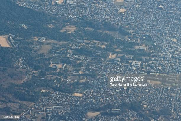 Todaiji and Kofukuji temple in Nara city aerial view from airplane