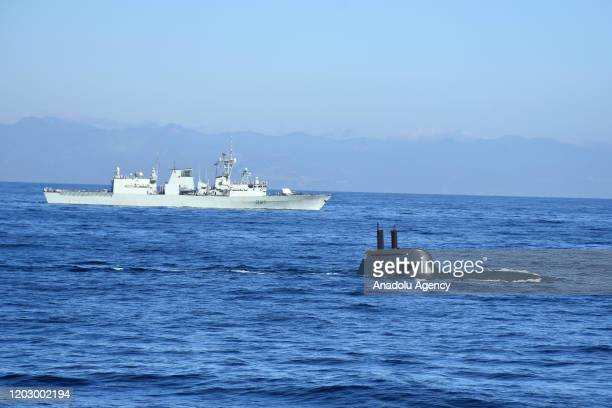 """Todaro submarine and HMCS Fredericton frigate of Canada attend NATO's joint """"Dynamic Manta 2020"""" drill to increase the cooperation and level of..."""