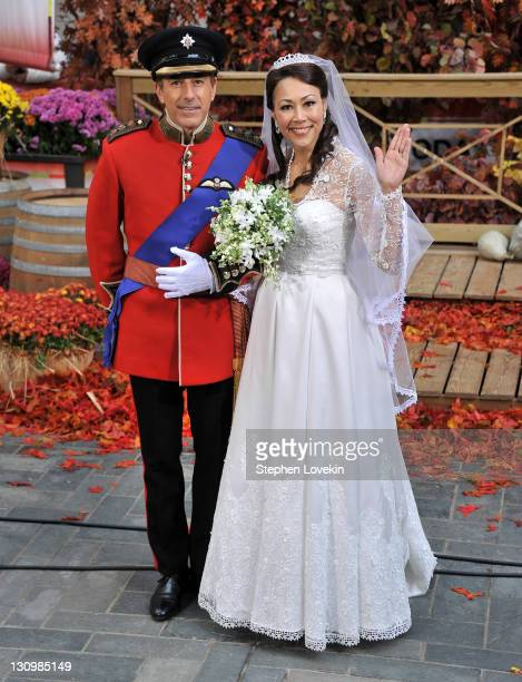 Today hosts Matt Lauer and Ann Curry wear fancy dress on the set of NBC's Today 2011 Halloween Celebration at Rockefeller Plaza on October 31 2011 in...
