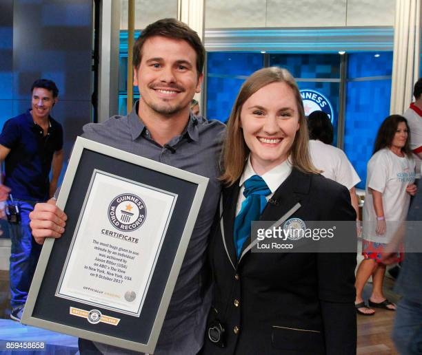 Today live on The View Jason Ritter Kevin Saves the World successfully breaks the Guinness World Record for an individual giving the most hugs in one...