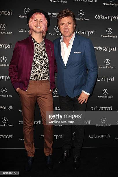 Today presenter, Richard Wilkins and son Christian Wilkins attend the Carla Zampatti show during Mercedes-Benz Fashion Week Australia 2014 at...