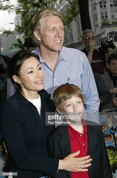 NBC Today show anchor Ann Curry with her husband Brian Ross and son Walker attend the screening of Shrek2 at the Beekman Theatre May 17 2004 in New...