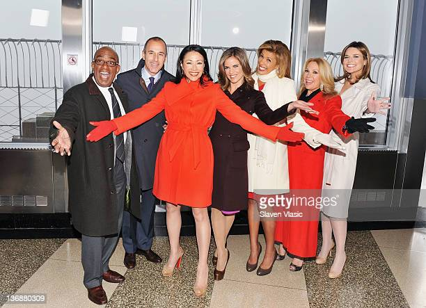Today Show anchors Al Roker, Matt Lauer, Ann Curry, Natalie Morales, Hoda Kotb, Kathie Lee Gifford and Savannah Guthrie pose for pictures at The...