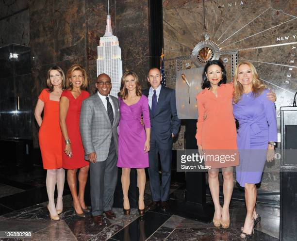 Today Show anchors Savannah Guthrie Hoda Kotb Al Roker Natalie Morales Matt Lauer Ann Curry and Kathie Lee Gifford pose for pictures at The Empire...