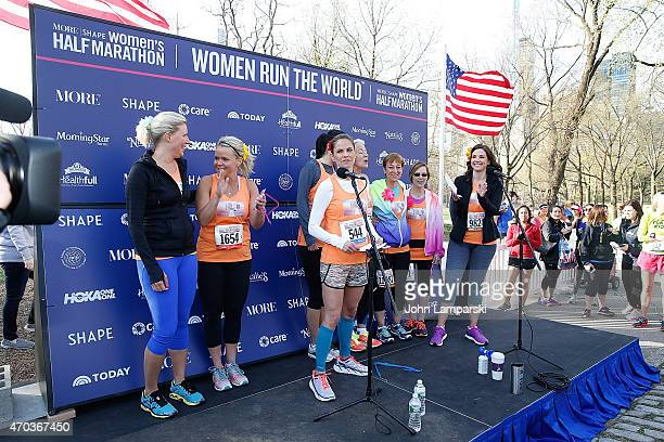 Today Show coanchors Natalie Morales Erica Hill and runners attend 12th Annual MORE/FITNESS/SHAPE Women's HalfMarathon at Central Park on April 19...