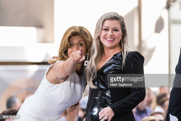 Today Show CoHost Hoda Kotb and Singer Kelly Clarkson perform on NBC's 'Today' at Rockefeller Plaza on June 8 2018 in New York City