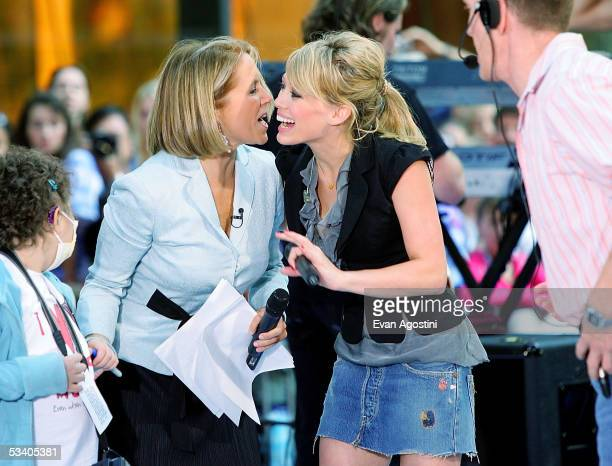 Today Show co-host Katie Couric greets singer Hilary Duff after her performance during the Toyota Concert Series on the Today Show at Rockefeller...