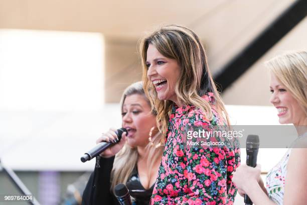 Today Show CoHost Savannah Guthrie attends the Kelly Clarkson performance on NBC's 'Today' at Rockefeller Plaza on June 8 2018 in New York City