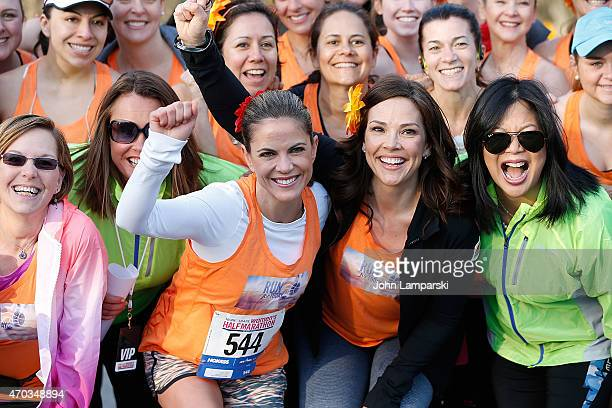 Today Show cohosts Natalie Morales and Erica Hill attend the 12th Annual MORE/FITNESS/SHAPE Women's HalfMarathon at Central Park on April 19 2015 in...