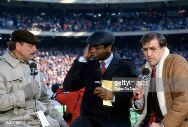 Today Show commentator Brent Musburger on the air talking with Irv Cross and Dick Butkus prior to the start of the NFC Divisional Playoff Game...