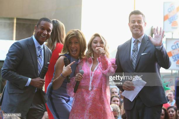 'Today' Show host Hoda Kobt shares a laugh with Julia Michaels when she performs on NBC's 'Today Show' at Rockefeller Plaza on July 27 2018 in New...