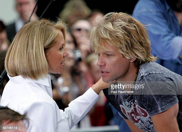 """Today Show host Katie Couric and Jon Bon Jovi of the rock band """"Bon Jovi"""" talk before an on-stage performance for the """"Toyota Concert Series"""" during..."""
