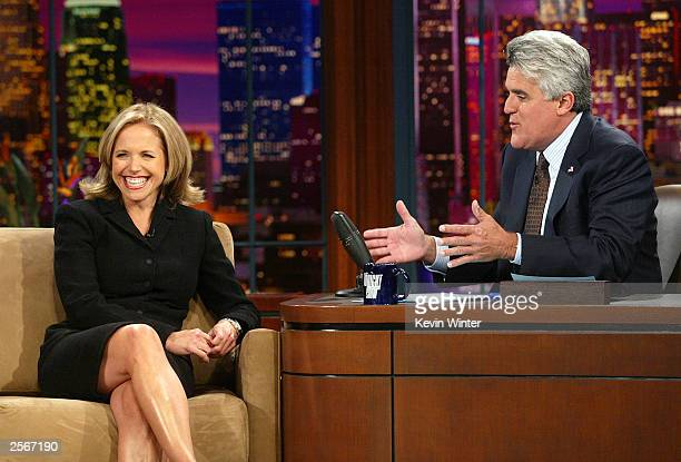 Today Show host Katie Couric appears on The Tonight Show with Jay Leno at the NBC Studios on October 6 2003 in Burbank California