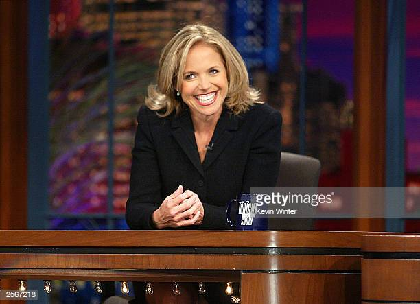 """Today Show"""" host Katie Couric appears on """"The Tonight Show with Jay Leno"""" at the NBC Studios on October 6, 2003 in Burbank, California."""