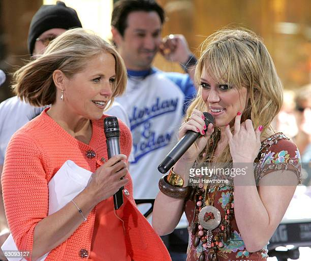 """""""Today"""" show host Katie Couric interviews actress/singer Hilary Duff after she performed onstage during the Toyota Concert Series on the """"Today"""" Show..."""