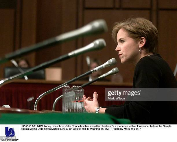 Today Show host Katie Couric testifies about her husband's experience with colon cancer before the Senate Special Aging Committee March 6 2000 on...