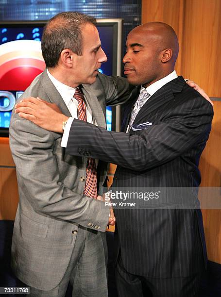 Today show host Matt Lauer and former football player Tiki Barber attend a press conference where Barber was named NBC Today show correspondent and...