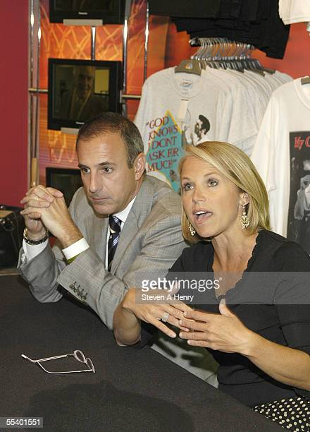 Today Show host Matt Lauer and Katie Couric at the signing of 'Today's Kitchen Cookbook' at the NBC store on September 14 2005 in New York City...