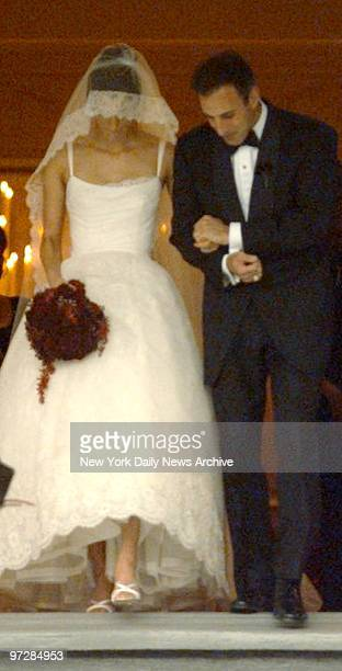 NBC Today show host Matt Lauer and model Annette Roque leave Bridgehampton Presbyterian Chuch on Long Island after their wedding