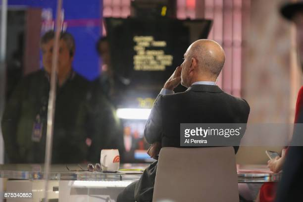 'Today' Show host Matt Lauer at work in the studio when Tim McGraw and Faith Hill perform on NBC's 'Today' Show at Rockefeller Plaza on November 17...