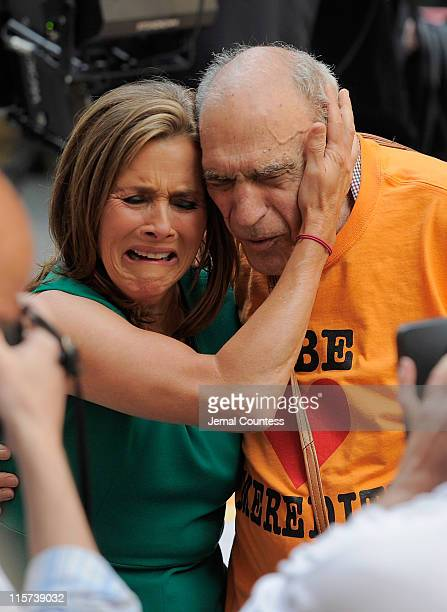 NBC 'Today Show' host Meredith Vieira shares a moment with actor Abe Vigoda during a taping of the 'Today Show' taking place on Meredith Vieira's...