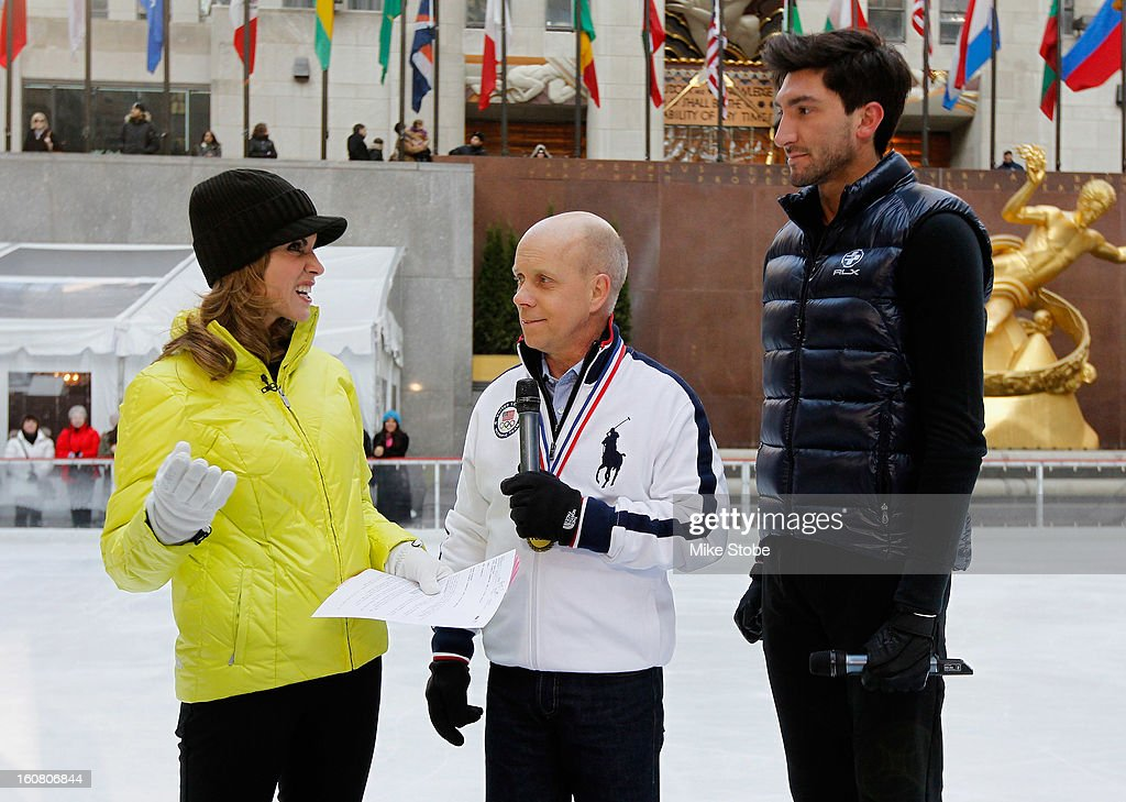 Today Show host Natalie Morales interviews Figure skating legend Scott Hamilton and Team USA 2014 Olympic figure skating hopeful Evan Lysacek during the Today Show One Year Out To Sochi 2014 Winter Olympics celebration at NBC's TODAY Show on February 6, 2013 in New York City.