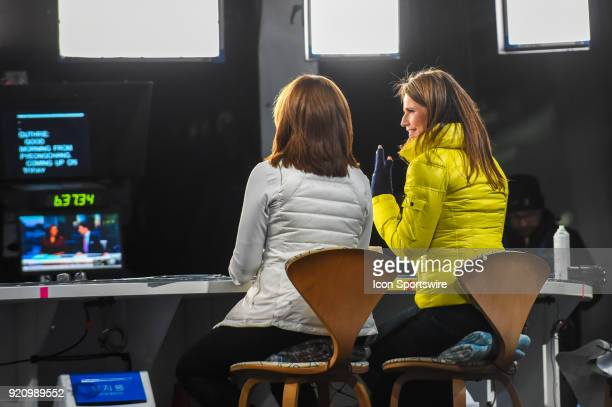 Today Show hosts Hoda Kotb and Savannah Guthrie prepare for the opening of the Today Show on the set of the Today Show in the Olympic Cluster before...