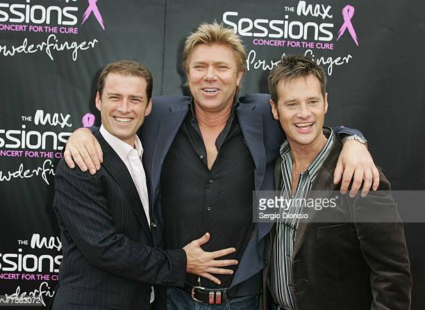 Today show hosts Karl Stefanovic Richard Wilkins and Richard Reid attend the Powderfinger Concert for the Cure on October 31 2007 in Sydney Australia...
