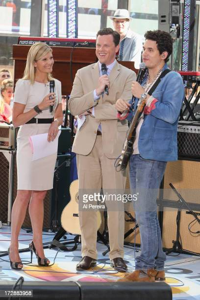 Today Show hosts Kate Snow and Willie Geist interview John Mayer when John Mayer performs on NBC's Today at the Rockefeller Plaza on July 5 2013 in...