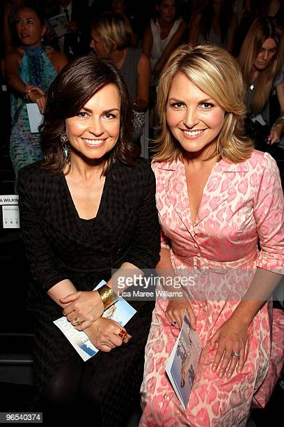 Today Show hosts Lisa Wilkinson and Georgie Gardner sit in the front row during the David Jones Autumn/Winter 2010 Fashion Launch at the Hordern...