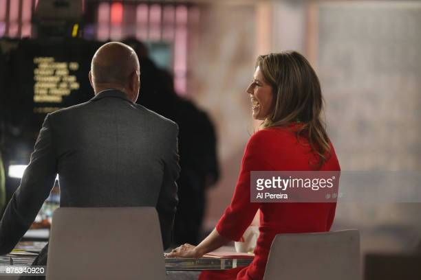 'Today' Show hosts Matt Lauer and Savannah Guthrie at work in the studio when Tim McGraw and Faith Hill perform on NBC's 'Today' Show at Rockefeller...