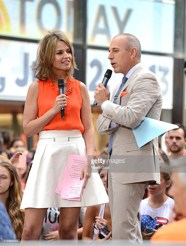 'Today' show news anchors Savannah Guthrie (L) and Matt Lauer speak to the crowd on NBC's 'Today' at the NBC's TODAY Show on July 12, 2013 in New York, New York.