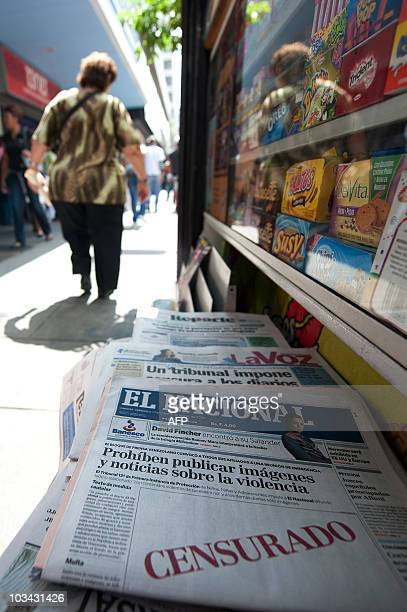 Today's issue of Venezuelan daily El Nacional showing an empty space with the word Censured in red on its frontpage at a newspapers stall in Caracas...
