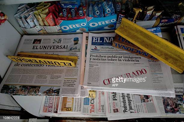 Today's issue of Venezuelan daily 'El Nacional' showing an empty space with the word 'Censured' in red on its frontpage at a newspapers stall in...