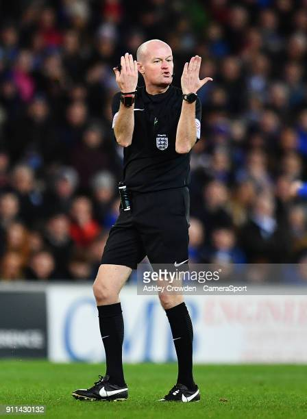 Todays match referee Lee Mason during The Emirates FA Cup Fourth Round match between Cardiff City and Manchester City at Cardiff City Stadium on...