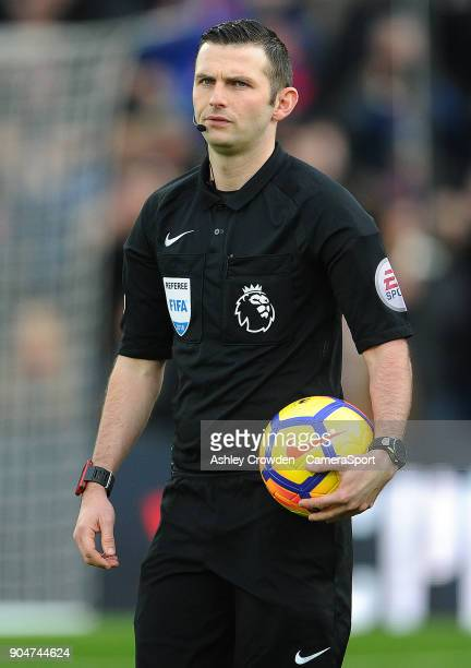 Todays match referee Michael Oliver during the Premier League match between Crystal Palace and Burnley at Selhurst Park on January 13 2018 in London...
