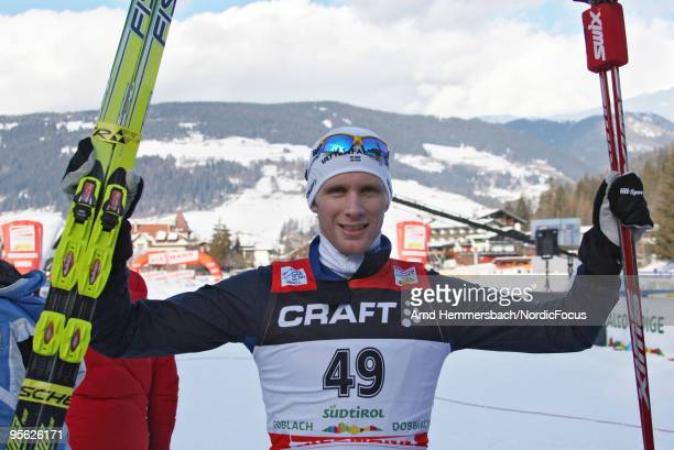 Todays winner Daniel Rickardsson of Sweden reacts after the race during the 10km men for the FIS Cross Country World Cup Tour de Ski on January 07...